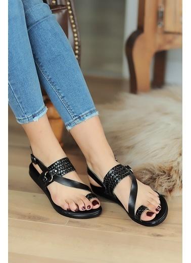 Pembe Potin A211-20 Kadın sandalet A211-20 Siyah